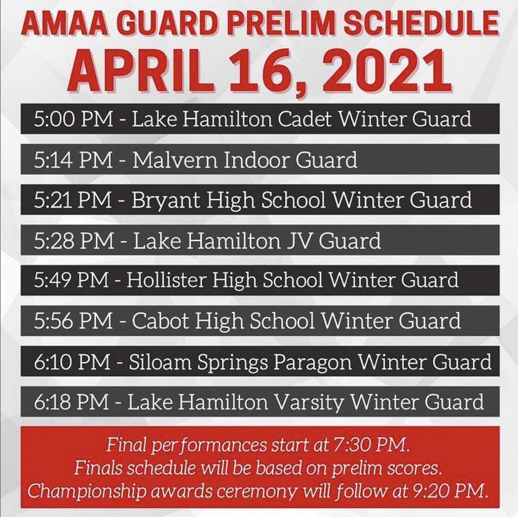 AMAA Winter Guard Schedule