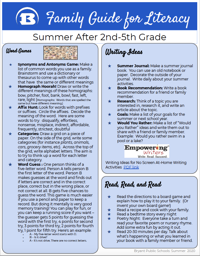 Summer Literacy Guide